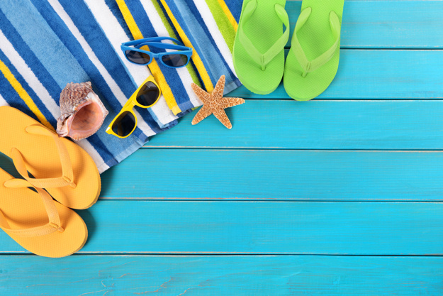 Beach scene with blue wood decking