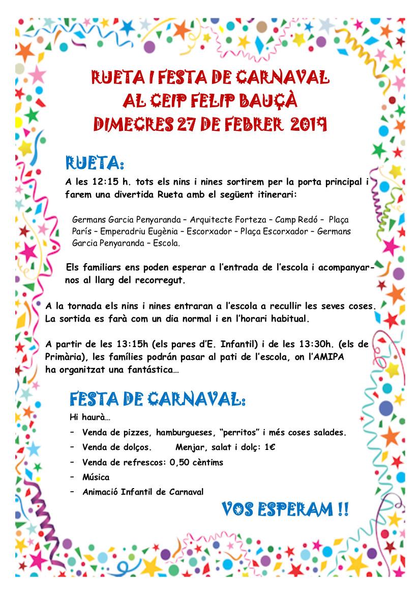 Circular pares Carnaval 2019